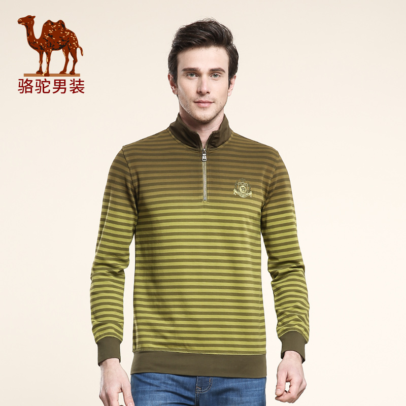 Camel/camel men's 2016 spring new striped collar door cylinder collar hedging business casual sweater