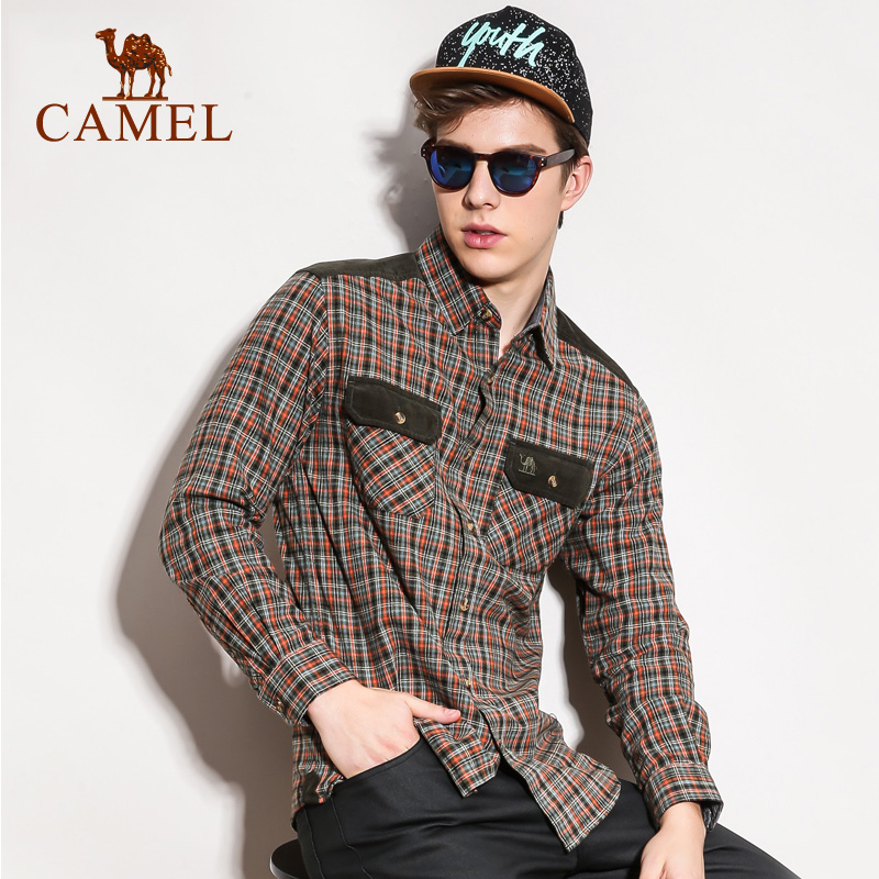 Camel/camel outdoor leisure clothing new long sleeve lapel simple casual plaid cotton shirt