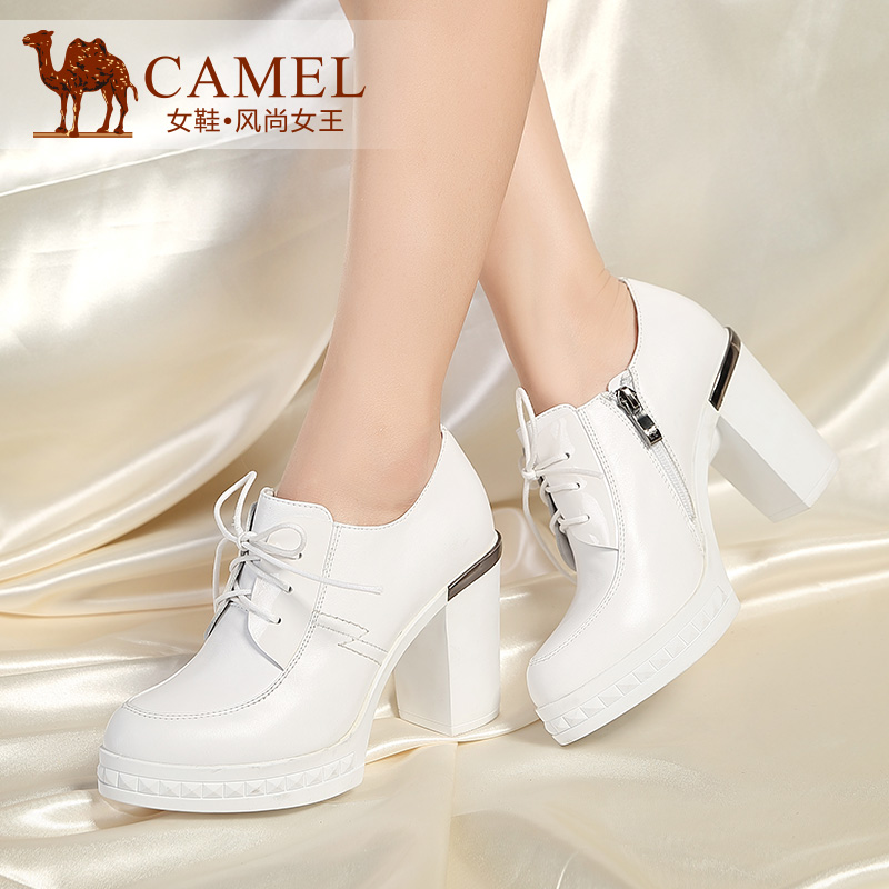Camel camel shoes elegant fashion round super high heels shoes women shoes thick with leather lace shoes women shoes
