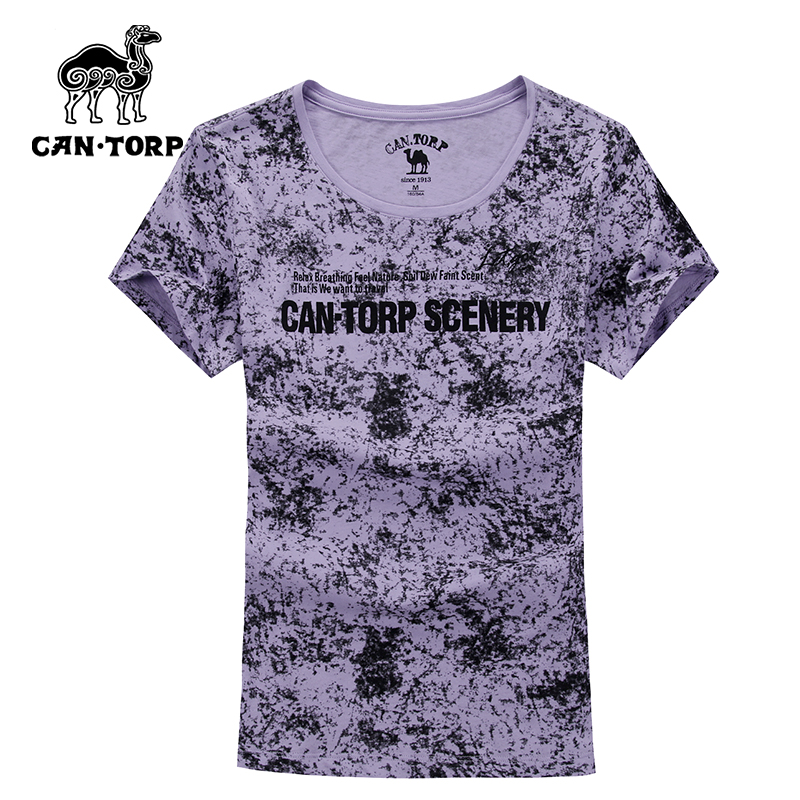 Camel spring and summer ladies round neck short sleeve t-shirt female floral printed cotton slim hedging fresh sleeve D82003