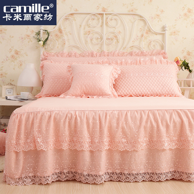 Camille korean cotton lace bedspread bed skirt single wedding cotton simmons bed linen bed sets 1.51.8 m