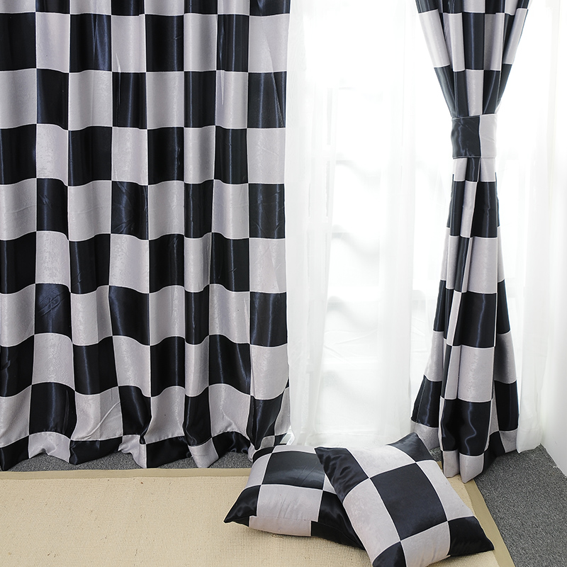 Can leisurely home new fabric black and white plaid curtains upscale living room bedroom curtains floating curtains can be customized