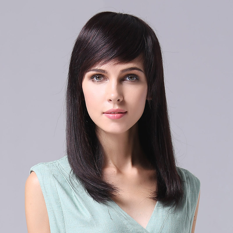 Can liss real hair wig full hand woven human hair wig long curly hair oblique bangs long hair fashion v06
