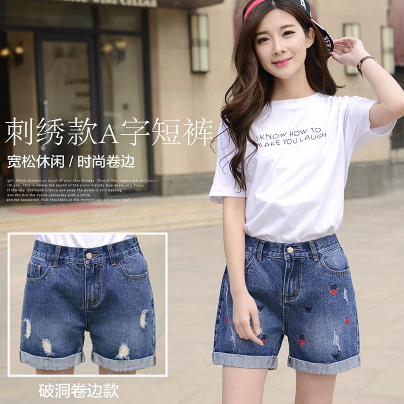 Can niwei tai college girls embroidered jeans shorts big yards elastic hole flanging jeans shorts tide