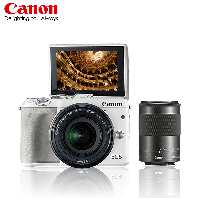 Canon/canon eos m twin lens kit (18-55,55-200mm) single micro digital camera