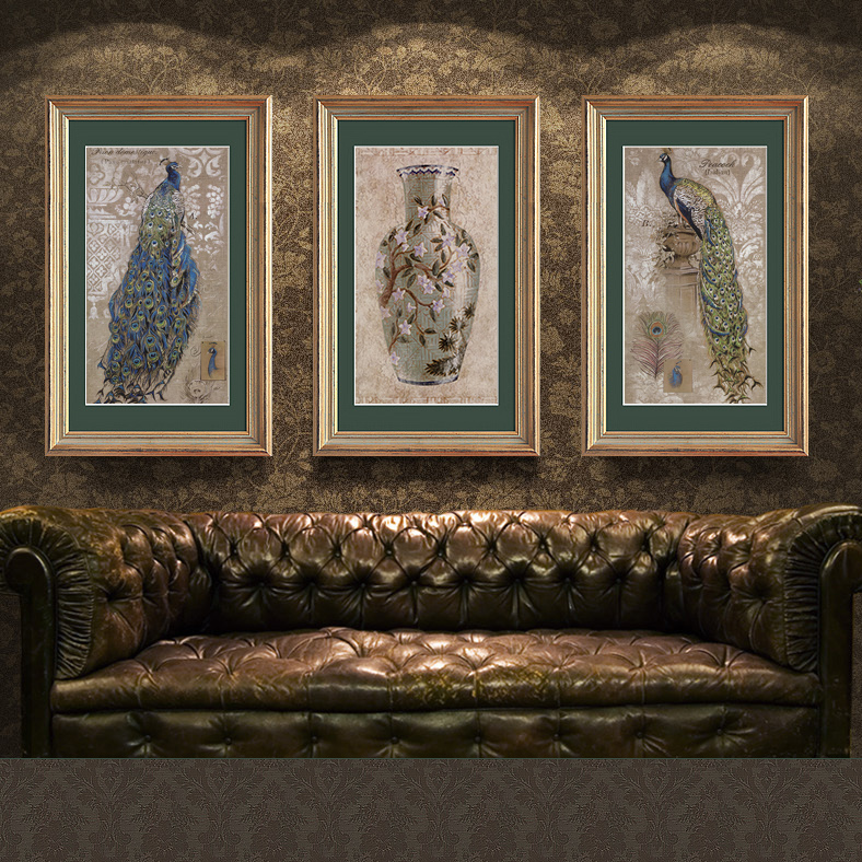 Canon wood gilded box european american decorative painting the living room entrance paintings triple wall mural painted peacock
