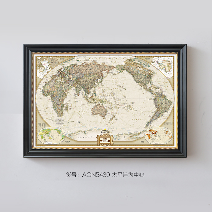 Canon wood gilded box world map american living room framed painting paintings office den