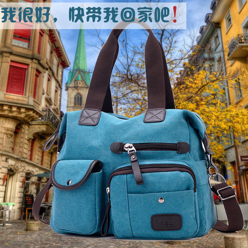 Canvas bag 2016 new wave of big bag simple handbag shoulder bag messenger bag leisure bag retro bag handbag
