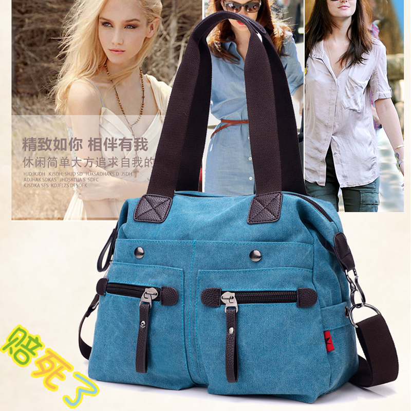 Canvas bag handbag 2016 new korean version of the influx of a large bag handbag shoulder bag messenger bag leisure bag backpack female