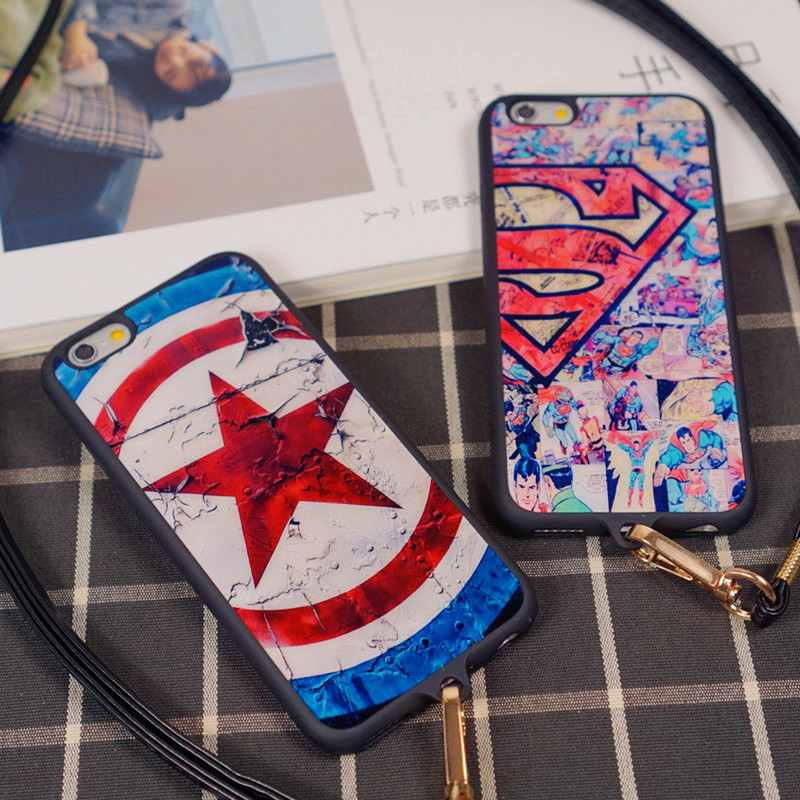 Captain america superman 6splus 5.5 popular brands apple iphone6plus phone shell silicone lanyard mobile phone sets
