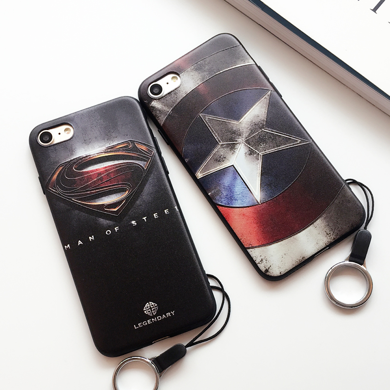 Captain america superman embossed iPhone7 lanyard phone shell mobile phone shell apple 7 soft shell shell iph one7 plus