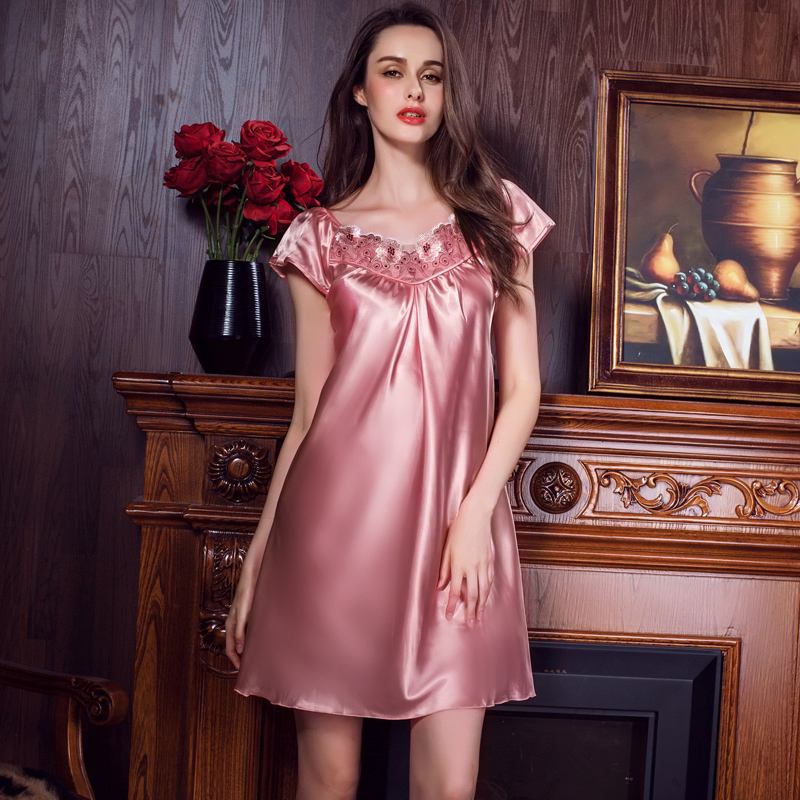 Captured 79 fashion sexy summer ms. silk pajamas short sleeve nightdress nightgown big yards south korea silk short skirt tracksuit