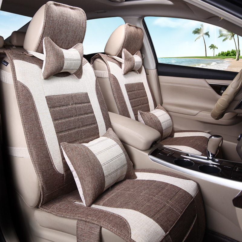 Car rear seat cushion four seasons in the front row single monolithic three linen flax four seasons general seat cushion strip three people