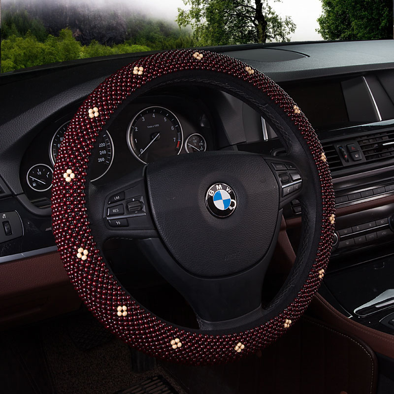 Car steering wheel cover to cover summer wooden bead seat sports car steering wheel cover slip four seasons general sets direction