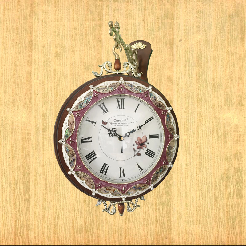 Caravel euclidian woodiness sided living room wall clock mute creative pastoral wall clock round clock watches mute