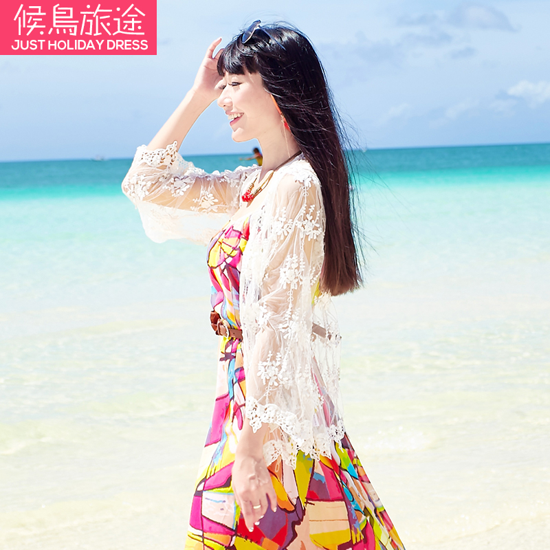 5298e0406e Get Quotations · Cardigan female 2016 summer thin lace cardigan long sleeve  solid color bohemian beach resort was thin