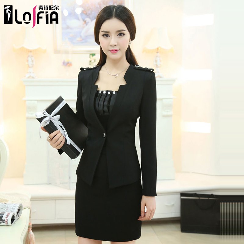 Career suits women wear suits slim interview ladies dress women's spring and autumn fashion ol long sleeve dress suit skirt suit