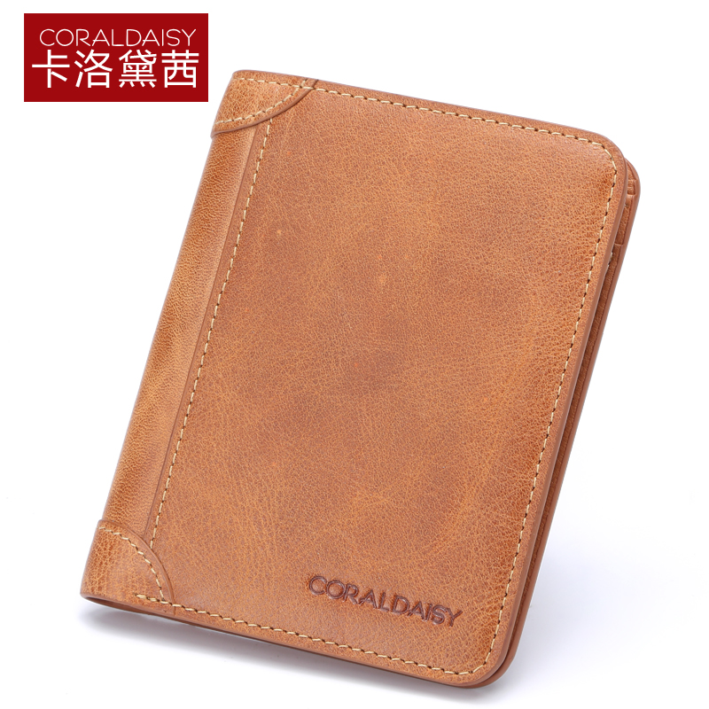 Carlo daisy leather men's wallet wallet men short paragraph small wallet men first layer of leather wallet influx of european and american retro