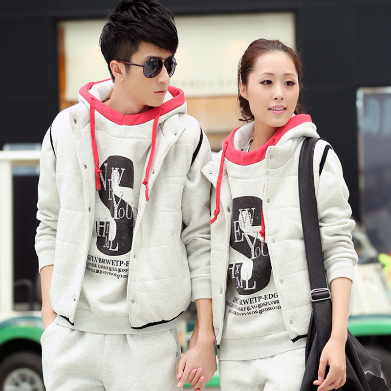 Carlo wolf new winter warm piece breathable sportswear hooded sweater + vest casual clothes lovers