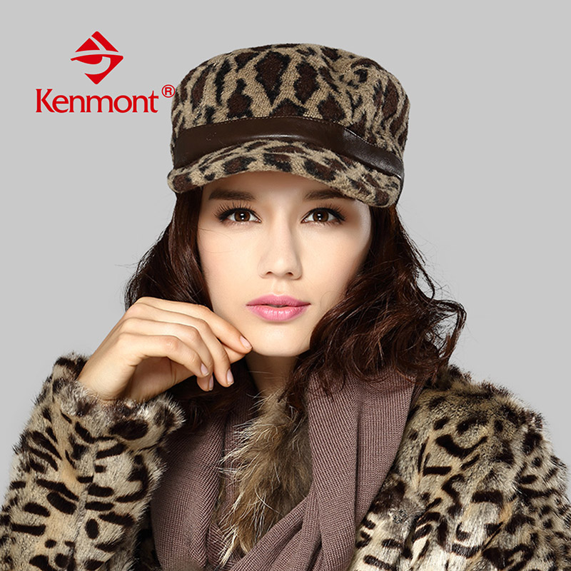 Carmon hat female autumn and winter days wool leopard cap flat cap influx of korean fashion cap baseball cap leisure cap