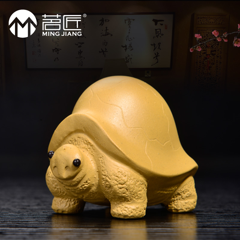 Carpenter ming kung fu tea boutique handmade yixing tea pet swing accessories small turtle dragon spray water play gifts deals