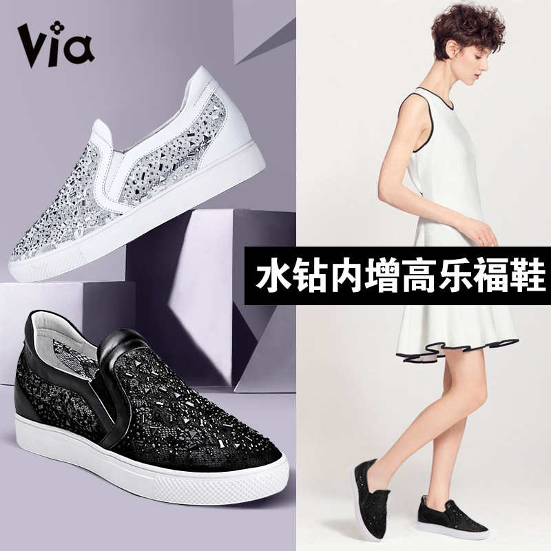 Carrefour shoes women shoes increased within the 2016 summer hollow leather breathable mesh diamond flat shoes casual lazy shoes