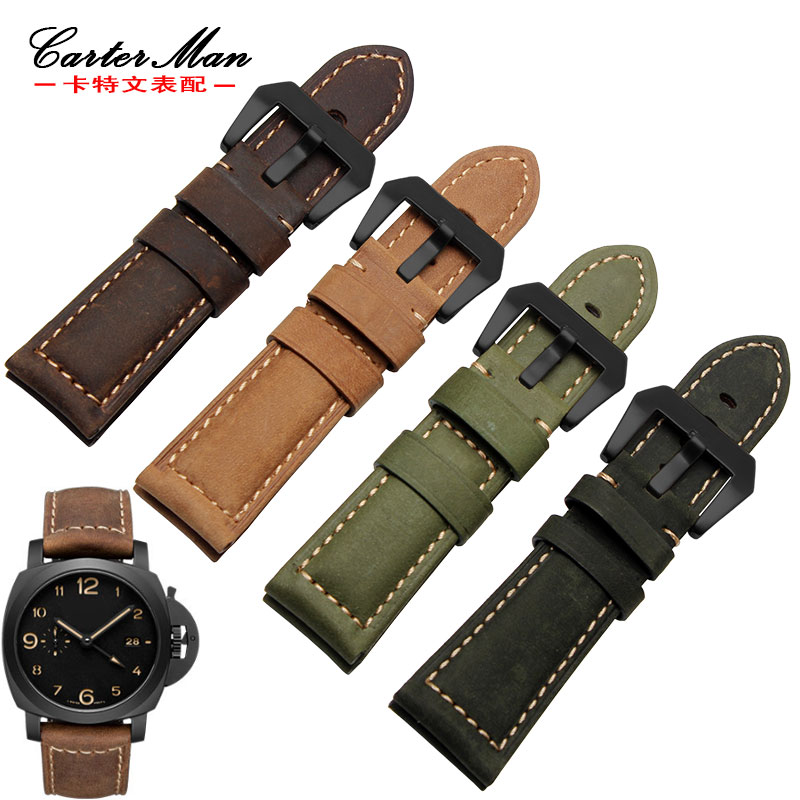 Carter man crocodile pattern leather strap adapter panerai panda hai dark brown crazy horse leather 22 24 26mm