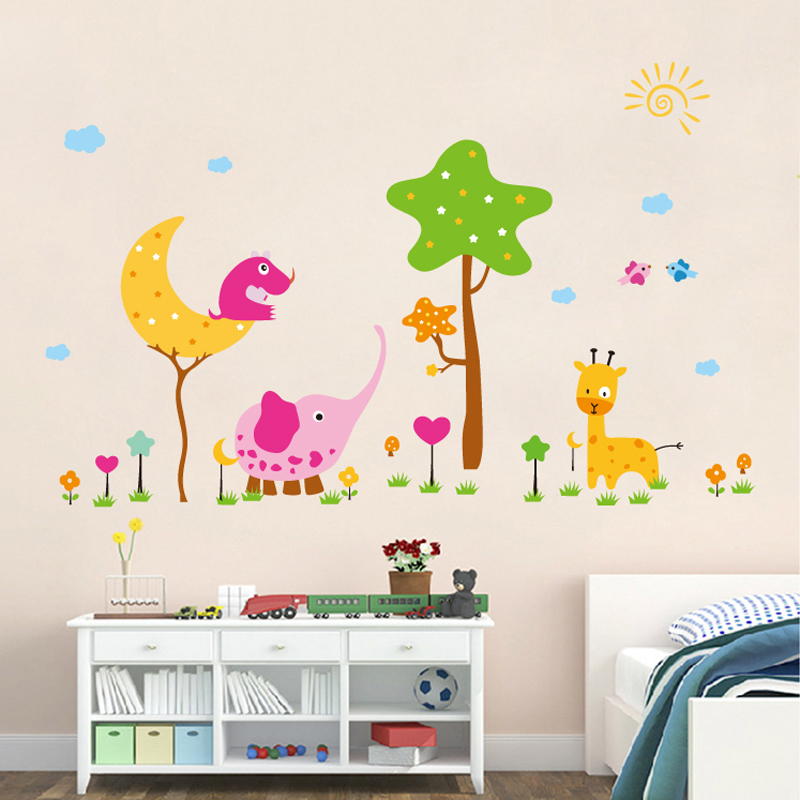 Cartoon animal world animal park children's room wall stickers kindergarten classroom bedroom wall decoration sticker