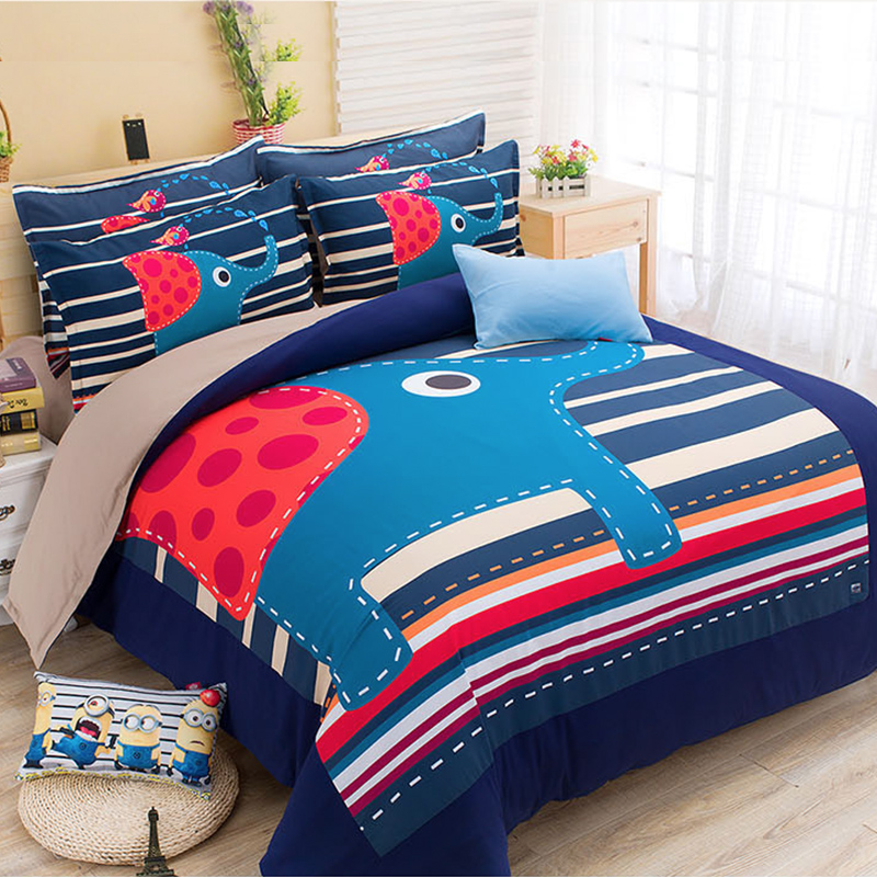 Cartoon bedding bed quilt sanding sheets quilt korean family of four thick warm blankets for children