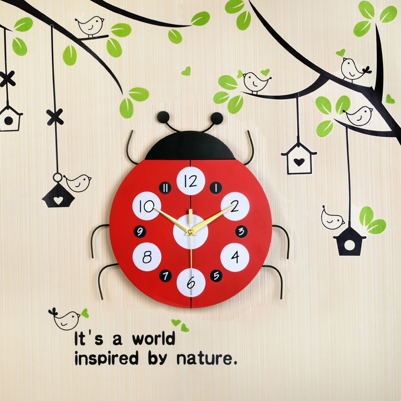 Cartoon beetle creative modern living room wall clock watches mute clock fashion simple children's room i'm decoration