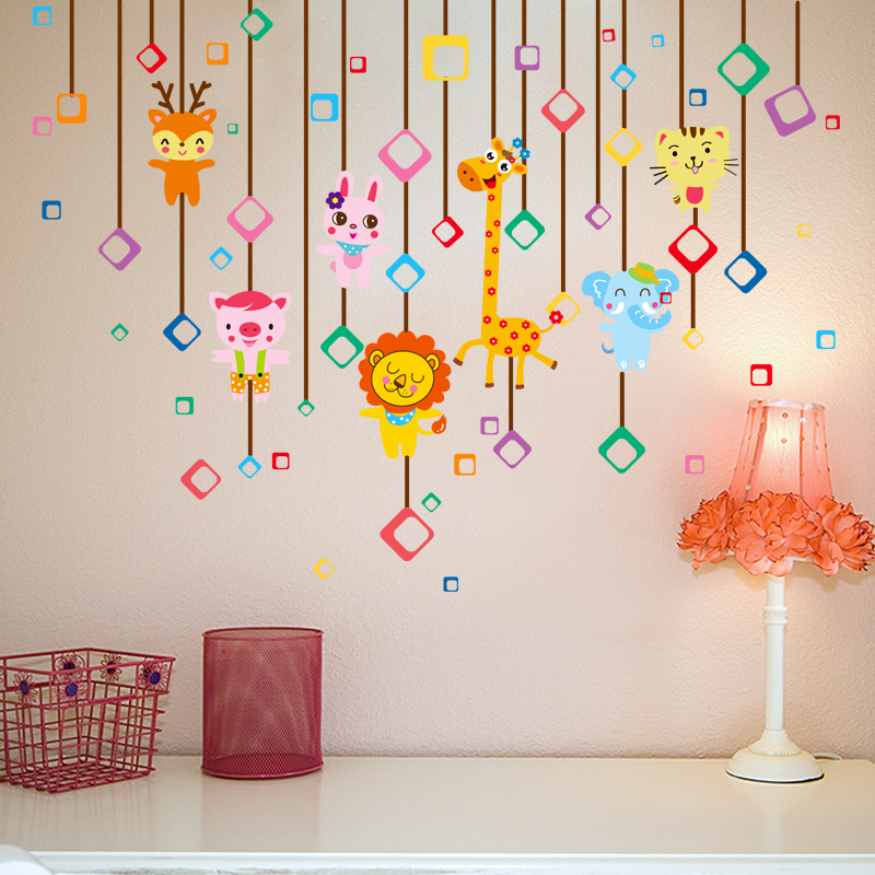 Cartoon children's room creative block play animal pendant klimts wallpaper adhesive wallpaper bedroom sofa backdrop wall stickers