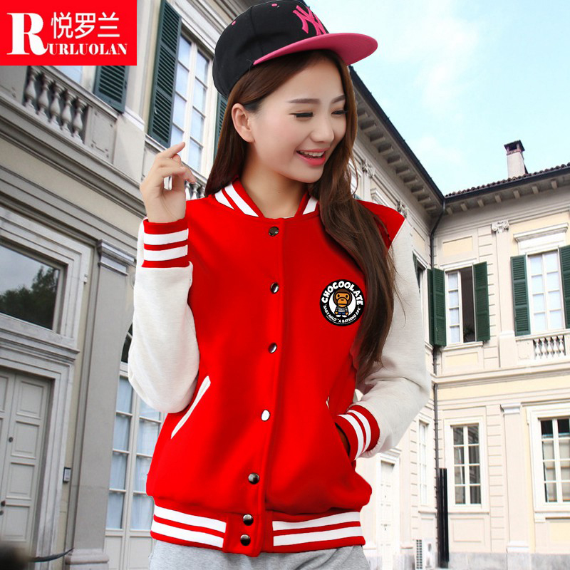 Cartoon mouth monkey sweater female lovers spring and autumn baseball uniform sports clothes slim casual short coat tide