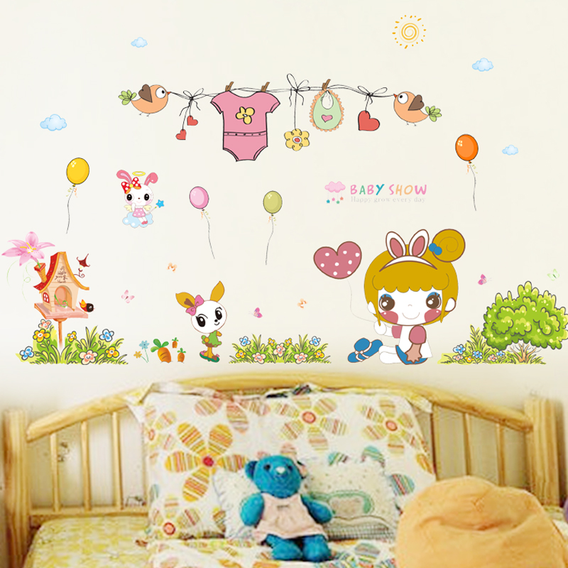 Get Quotations · Cartoon Removable Wall Stickers Childrenu0027s Room Nursery  Scene Layout Baby Bedroom Wall Surface Decoration Stickers Wall