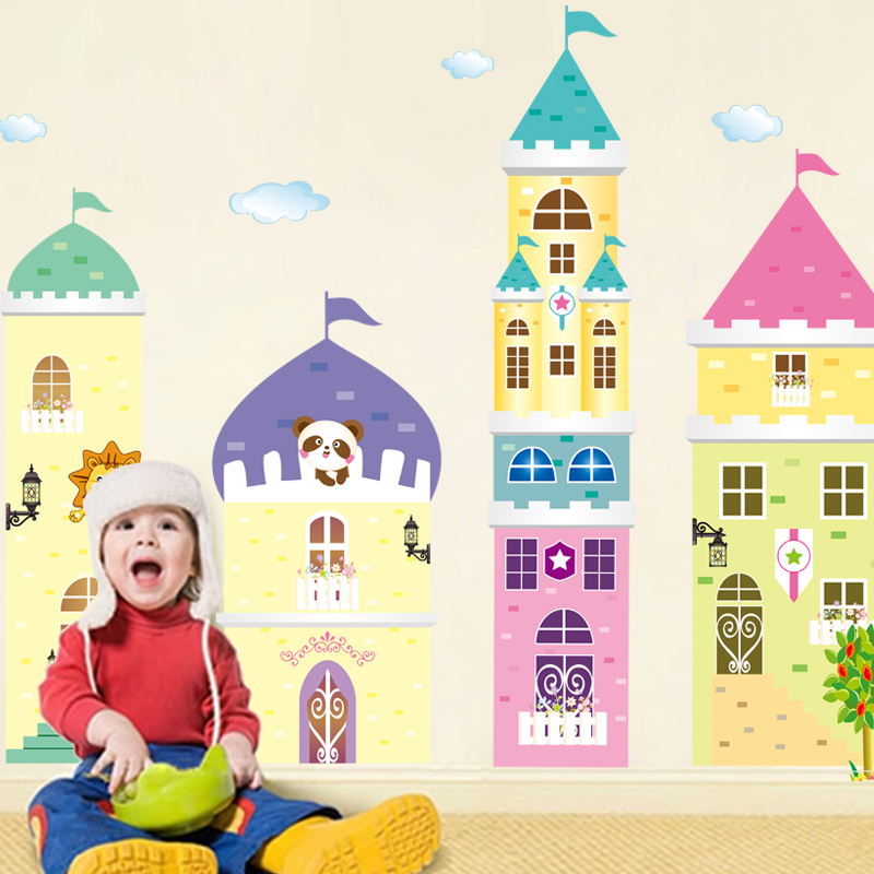 Cartoon sticker nursery wall stickers children's room decoration background removable stickers waterproof stickers dream magic castle