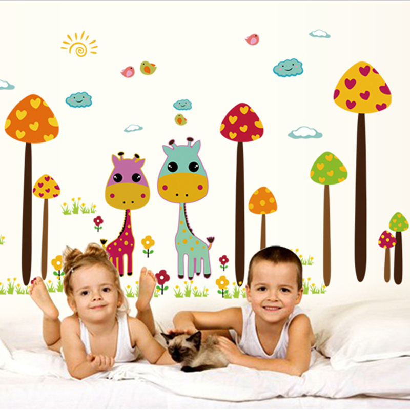 Cartoon wall stickers cute little animals for children ring paul removable wall stickers children's room nursery wall decor
