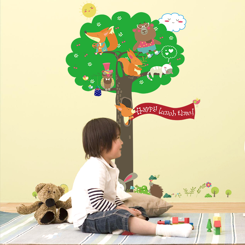 Cartoon waterproof adhesive removable wall stickers children's room bedroom nursery decoration klimts squirrel animal tree