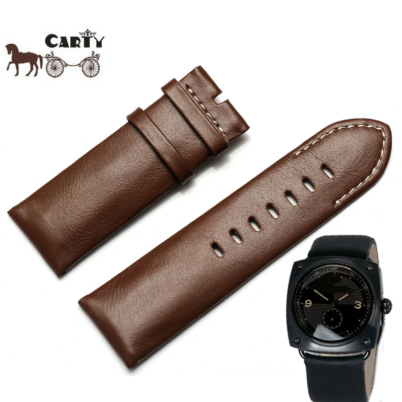 Carty strap suitable for armani AR5900 AR5901 calfskin leather strap watch chain black and brown 26