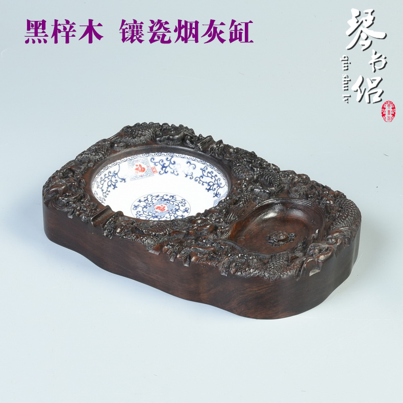 Carved mahogany four treasures of the supplies yantai yantai black ebony wood crafts ornaments mahogany wood carving ashtray