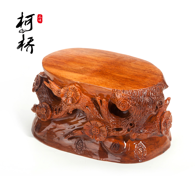 Carved mahogany pedestal base can trench wood special offer free shipping flowers bonsai ornaments stone pedestal base jade stone pedestal base