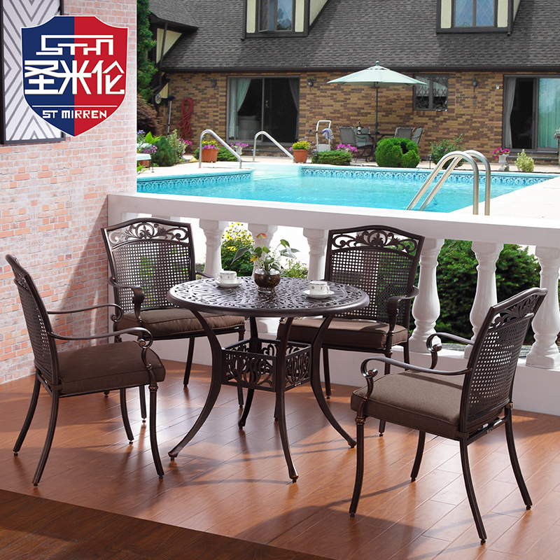 Cast aluminum outdoor tables and chairs wujiantao outdoor wrought iron tables and chairs balcony patio leisure furniture combination three sets of combination
