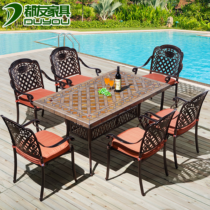 Cast aluminum tables and chairs outdoor furniture suite balcony garden chairs leisure furniture outdoor patio tables and chairs wujiantao