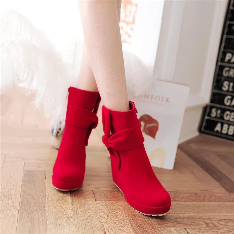 Casual and comfortable wedges high with red bridal shoes wedding shoes autumn and winter shoes matte side zipper bow boots