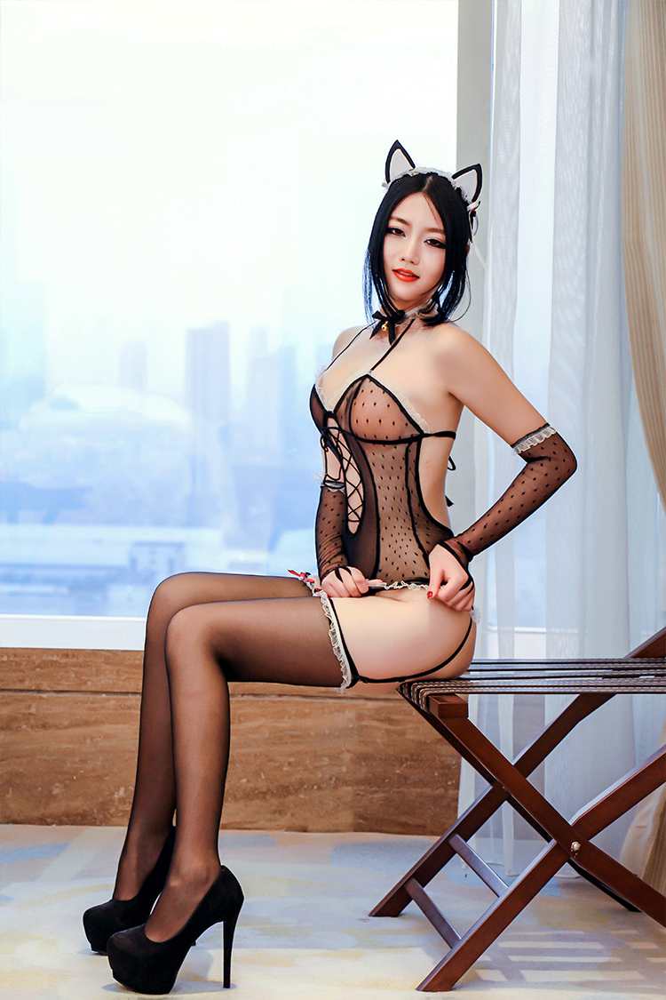 Get Quotations  C2 B7 Cat Girl Cosplay Costume Adult Sense Of Sexy Lingerie Uniform Temptation Transparent Lace Stockings Open File