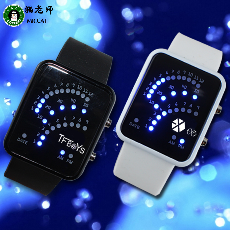 Cat teacher student electronic watches led watches for men and women tfboys exo watch deer kris wu han hoon