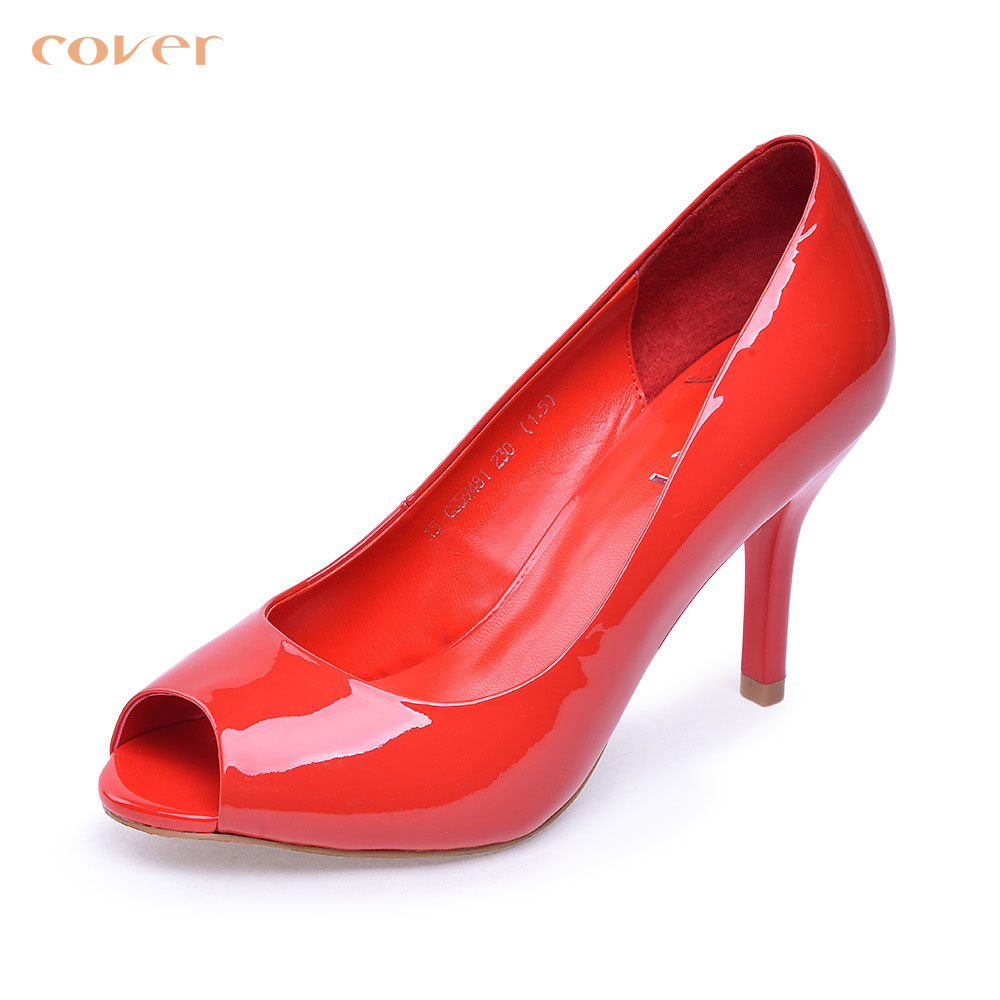 Cavan/cover2015 spring simple patent leather shoes fish head shallow mouth shoes CS59481