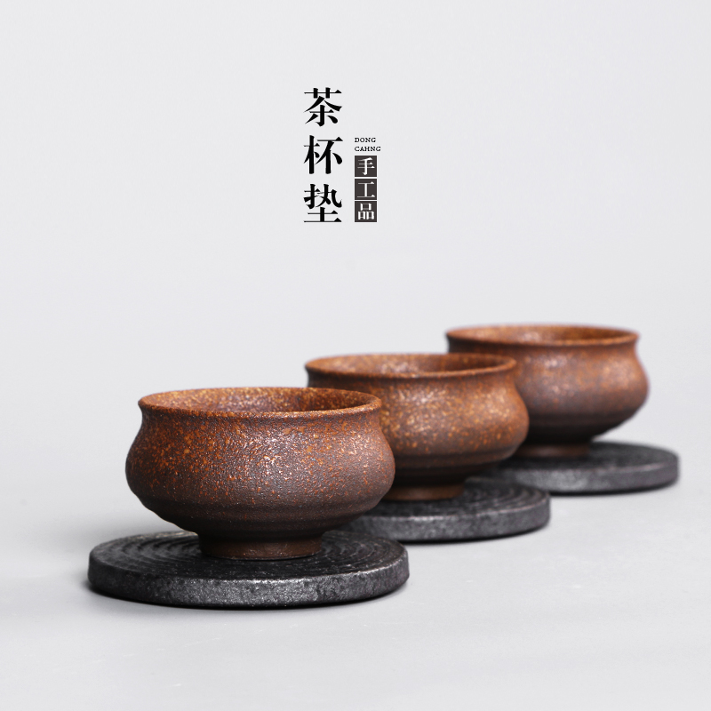 Cave hidden floor iron glaze zen circle round personalized coasters saucer tea stoneware japanese tea cup holder tea cup holder