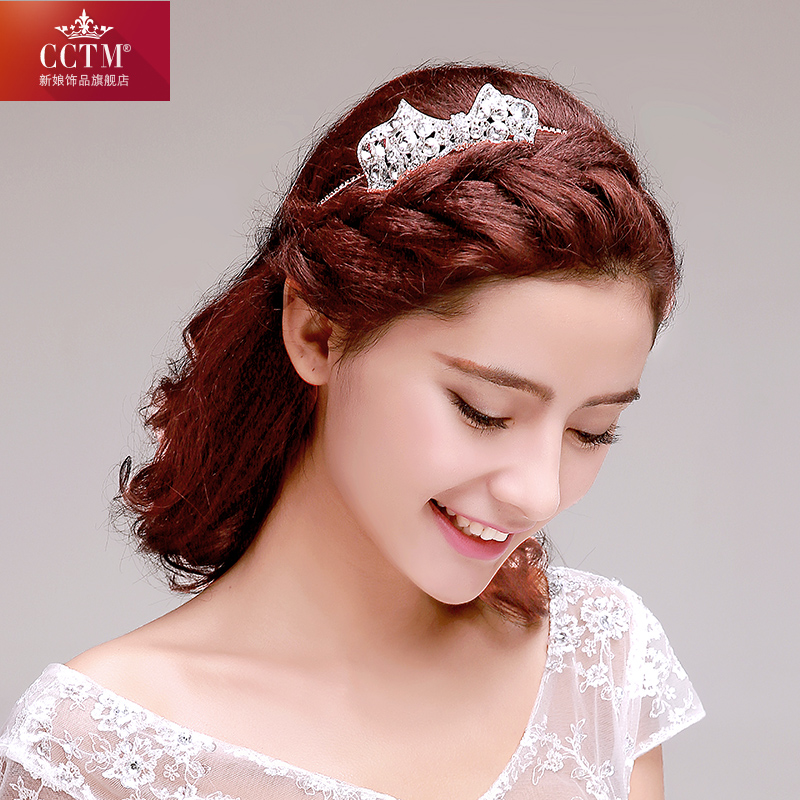 Cctm bridal flower headdress korean bow diamond bridal wedding hair accessories with jewelry wedding dress accessories jewelry