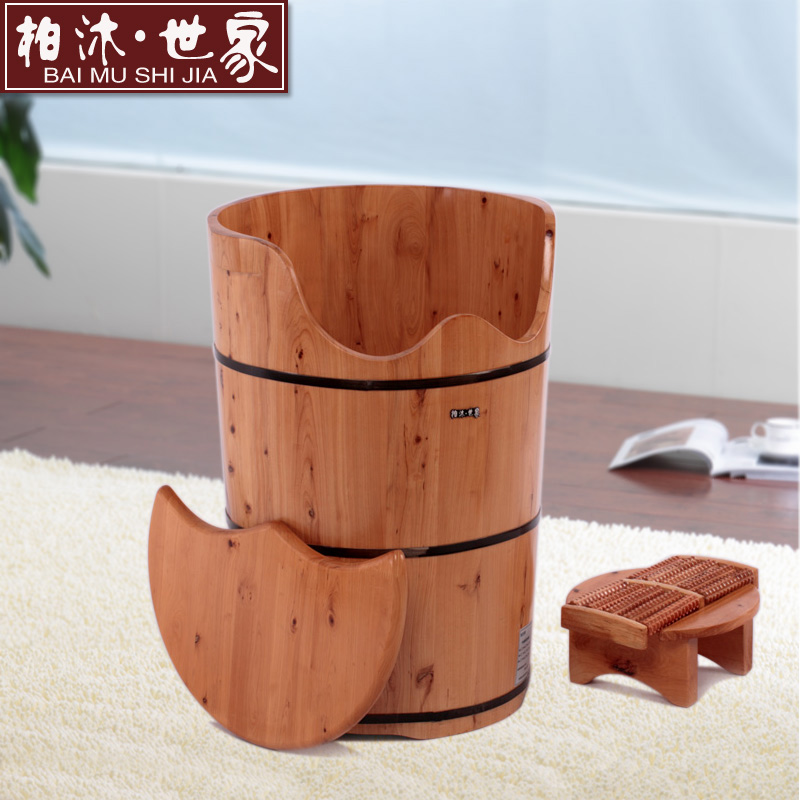 Cedar cedar wood cask barrel feet feet wooden tub mu family of 60 with lid heightening thicker foot foot barrel barrel