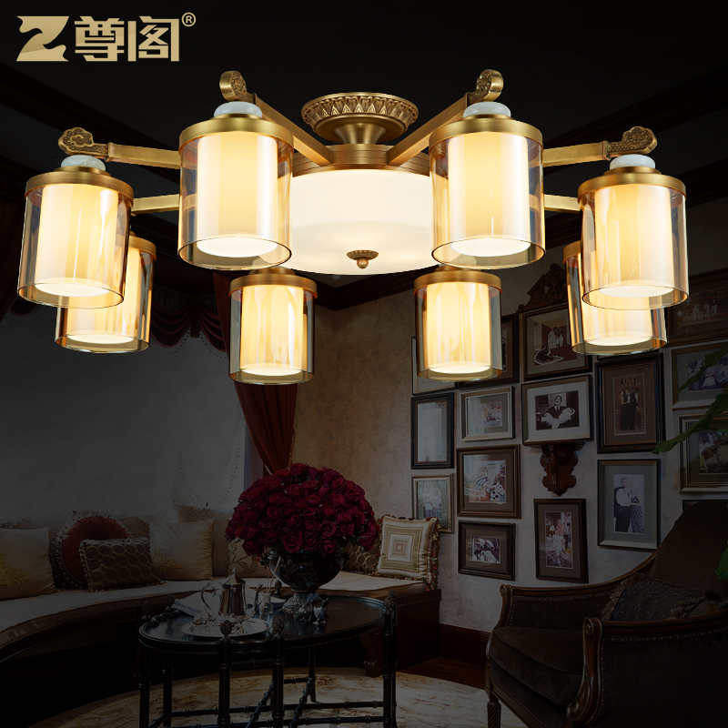 Ceiling lights all copper american continental bedroom living room lights 365 round led ceiling lamp glass full copper lamps copper lamps