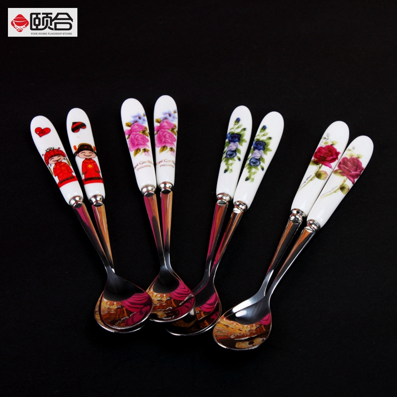Ceramic skillet stainless steel coffee spoon small spoon baby spoon children spoon tablespoon seasoning spoon stirring spoon